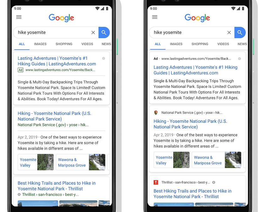 Nieuwe look in Google Search